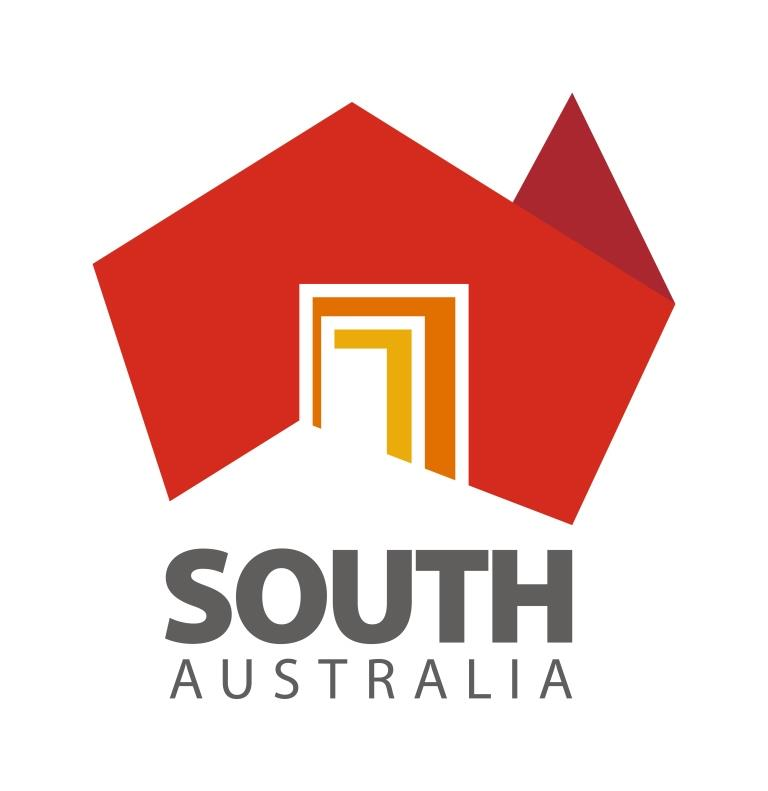 Made in South Australia logo red map of Australia with yellow and brown frame focused on South Australia